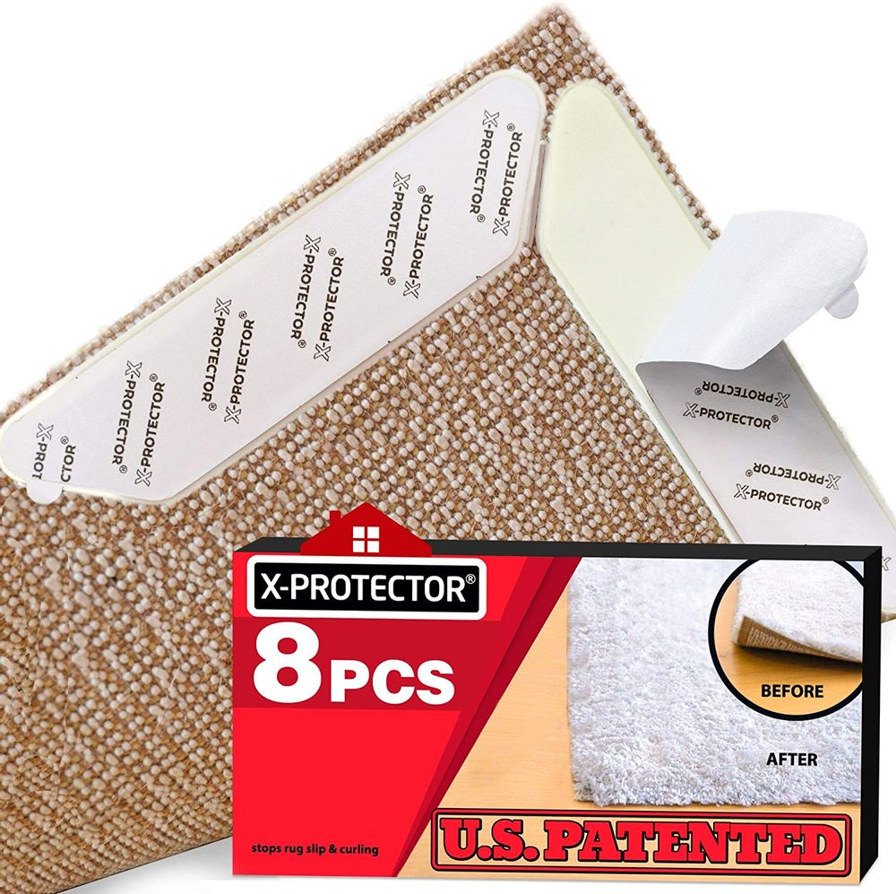 Rug Grippers X-PROTECTOR - NEW 8 pcs Anti Curling Rug Gripper - Rug Pad. Keeps Your Rug in Place & Corners Flat. Carpet Gripper Renewable Gripper Tape - Rug Tape. ORIGINAL BRAND - AVOID THE COPIES!
