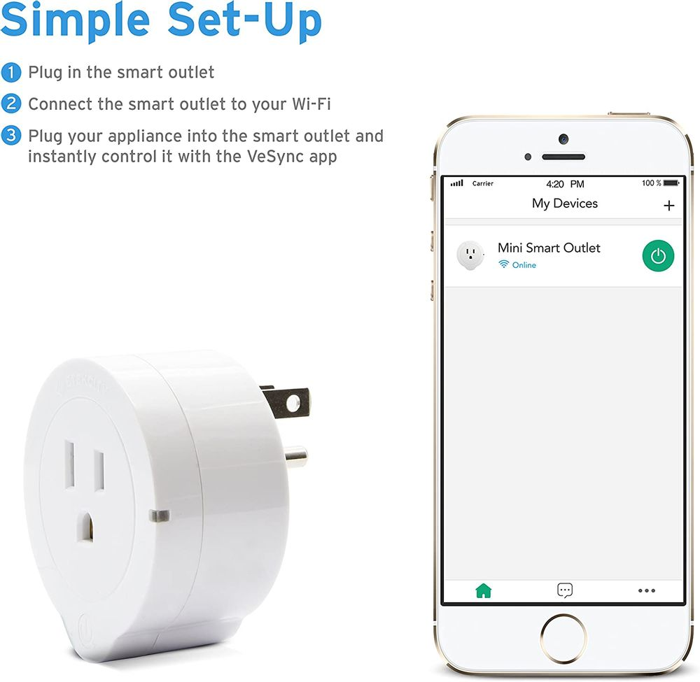 VeSync Smart Plug by Etekcity, 4 Pack Mini WiFi Outlets, Works with Alexa, Google Home & IFTTT, Remote Control from Anywhere, WiFi Energy Monitoring with Schedule Function, No Hub Required, ETL Listed