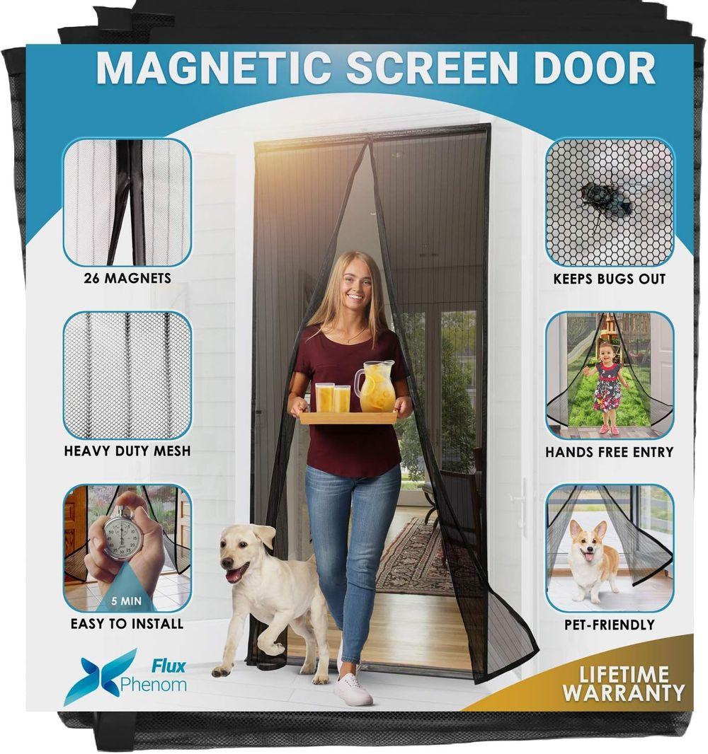 Flux Phenom Reinforced Magnetic Screen Door - Fits Doors up to 38 x 82 Inches (Black)
