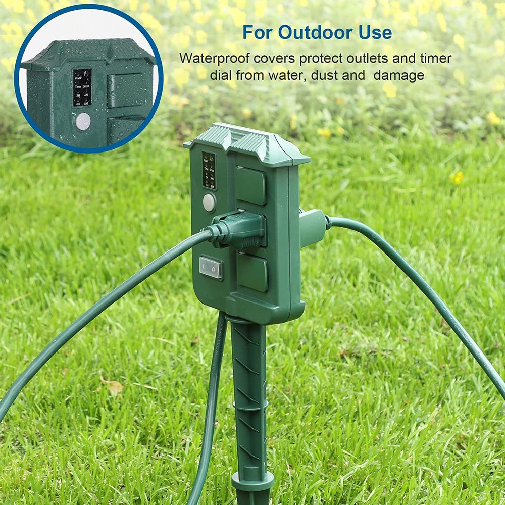 DEWENWILS Outdoor Power Stake Timer with Photocell, Wireless Remote Control, 6 Waterproof Grounded Outlets with Protective Cover, 6ft Extension Cord, Raintight, UL Listed, Green