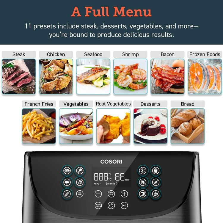 COSORI Air Fryer,Max XL 5.8 Quart,1700-Watt Electric Hot Air Fryers Oven & Oilless Cooker for Roasting,LED Digital Touchscreen with 11 Presets,Nonstick Basket,2-Year Warranty,ETL Listed(100 Recipes)
