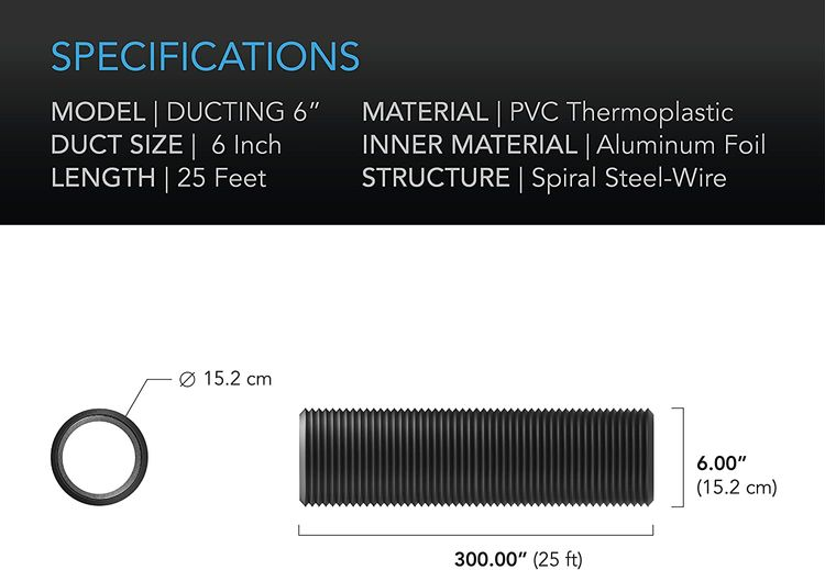 AC Infinity Flexible 6-Inch Aluminum Ducting, Heavy-Duty Four-Layer Protection, 25-Feet Long for Heating Cooling Ventilation and Exhaust