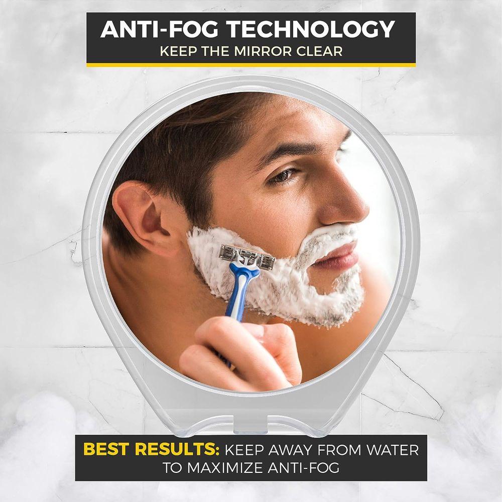 HoneyBull Shower Mirror for Shaving Fogless with Suction, Razor Holder & Swivel (White)