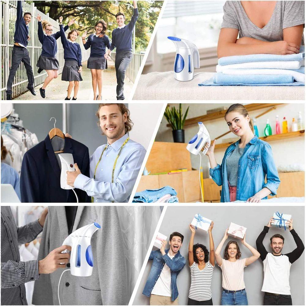 Hilife, Handheld Garment Clothing, Mini Travel Steamer Fabric Steam Iron 240ml Big Capacity Upgraded Version, Blue