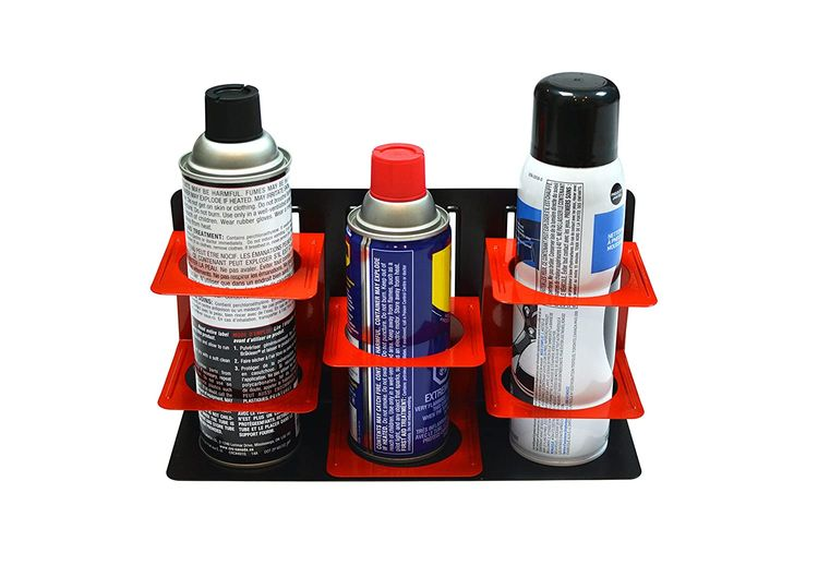 Olsa Tools Magnetic Can Holder | Aerosol and Spray Can Holder | Adjustable Height for Different Cans | Holds 3 Spray Cans | Can Also be Wall Mounted
