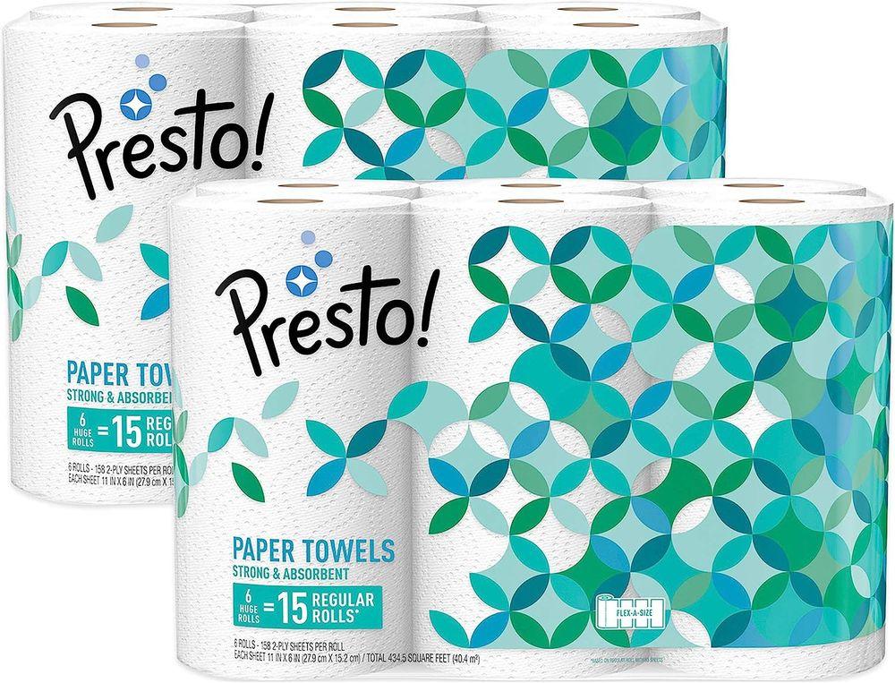 Brand - Presto! Flex-a-Size Paper Towels, Huge Roll, 12 Count = 30 Regular Rolls