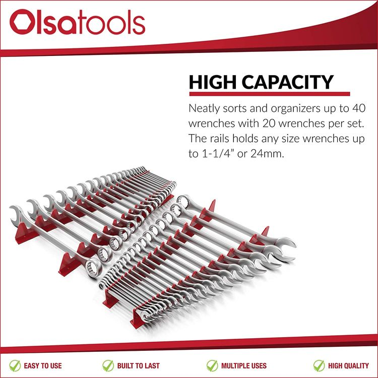 Olsa Tools Magnetic Wrench Organizer | Tool Storage | Heavy Duty Tool Organizer for Organizing 40 Wrenches | 4-Pack (2pcs Forward / 2pcs Reverse)