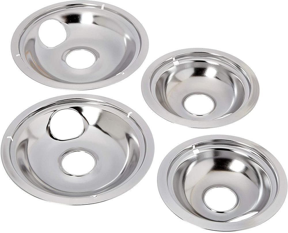 Stanco 4 Pack GE/Hotpoint Electric Range Chrome Reflector Bowls With Locking Slot