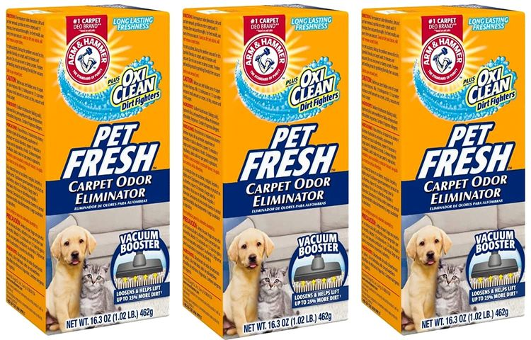 Arm & Hammer Pet Fresh Carpet Odor Eliminator Plus Oxi Clean Dirt Fighters (Pack of 3), 48.9 Ounce
