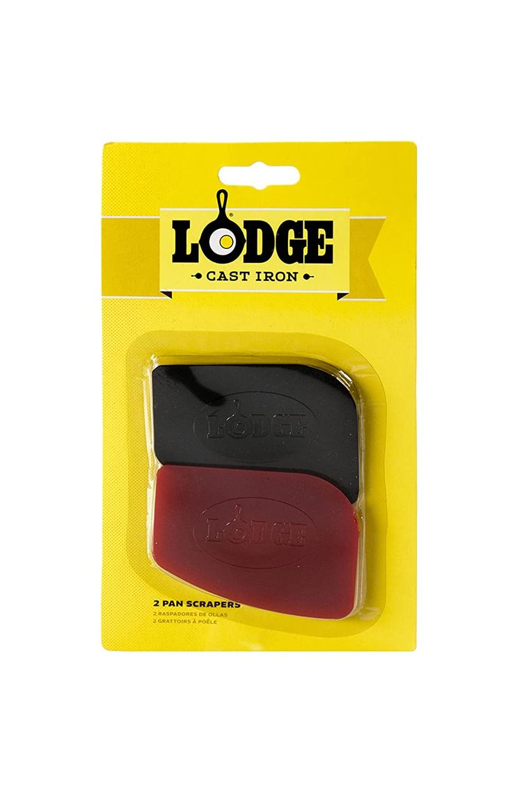 Lodge Pan Scrapers. Handheld Polycarbonate Cast Iron Pan Cleaners. (2-Pack. Red/Black)