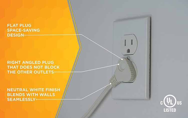 SlimLine 2235 Indoor Flat Plug Extension Cord, 3 Foot Cord, Right Angled Plug, 16 gauge, 3 Polarized Outlets, 125 Volts, Space Saving Design, Neutral White Color, UL and CUL Listed…