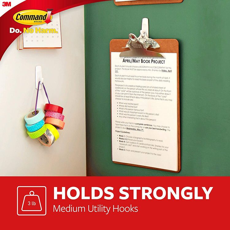 Command Medium White Hooks, Indoor Use, Holds 3 lbs (17001ES)