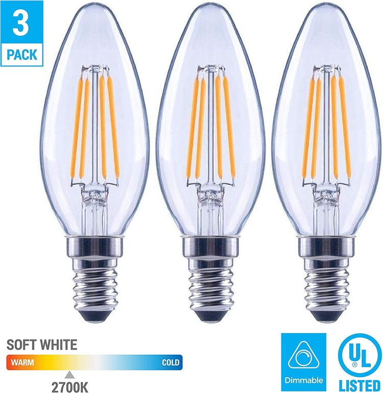 EcoSmart 60-Watt Equivalent B11 Dimmable Clear Filament Vintage Style LED Light Bulb Soft White (3-Pack)