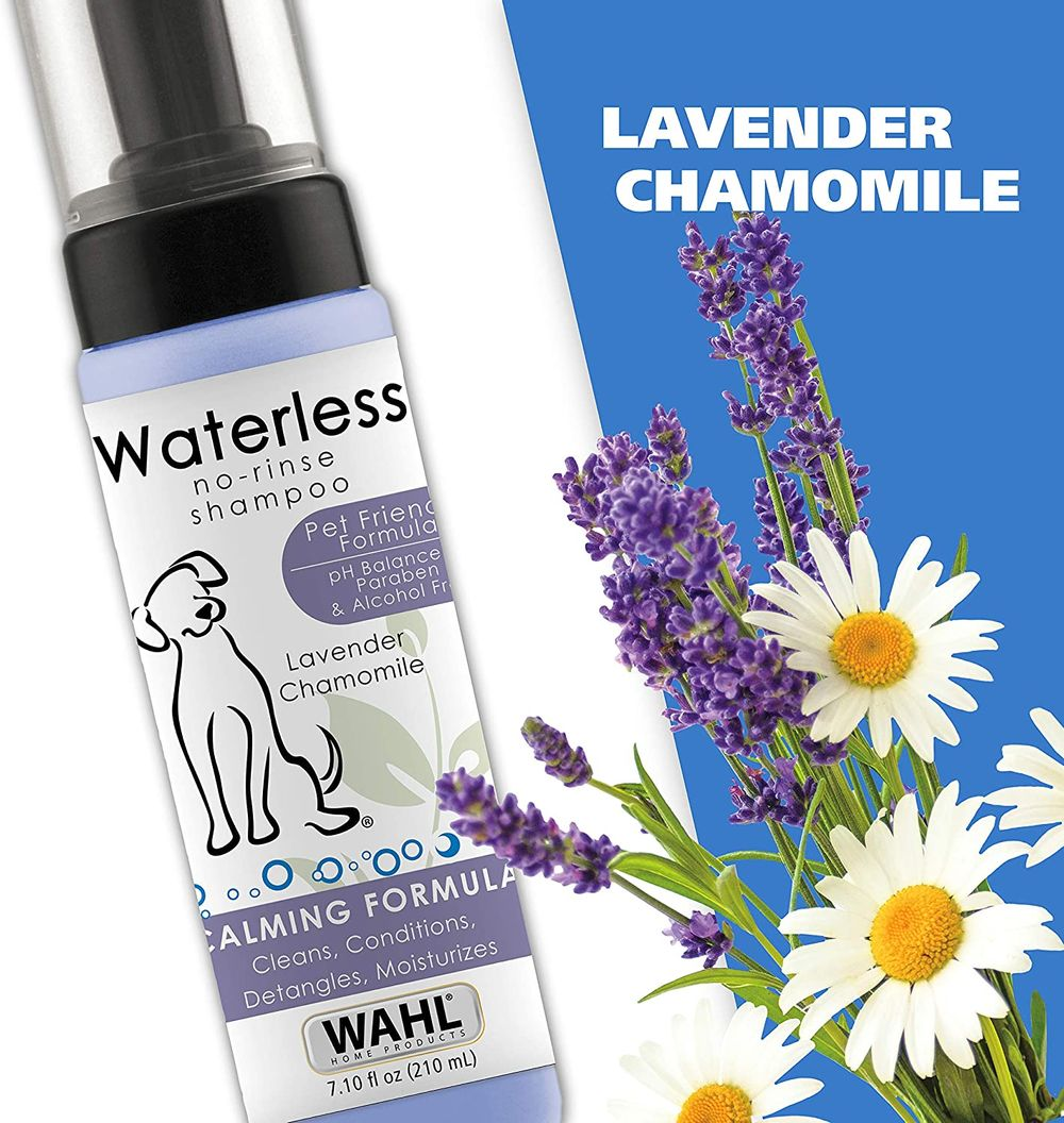 Wahl Pet Friendly Waterless No Rinse Shampoo for Animals – Lavender & Chamomile for Cleaning, Conditioning, Detangling & Moisturizing Dogs, Cats & Horses – 7.1 Oz