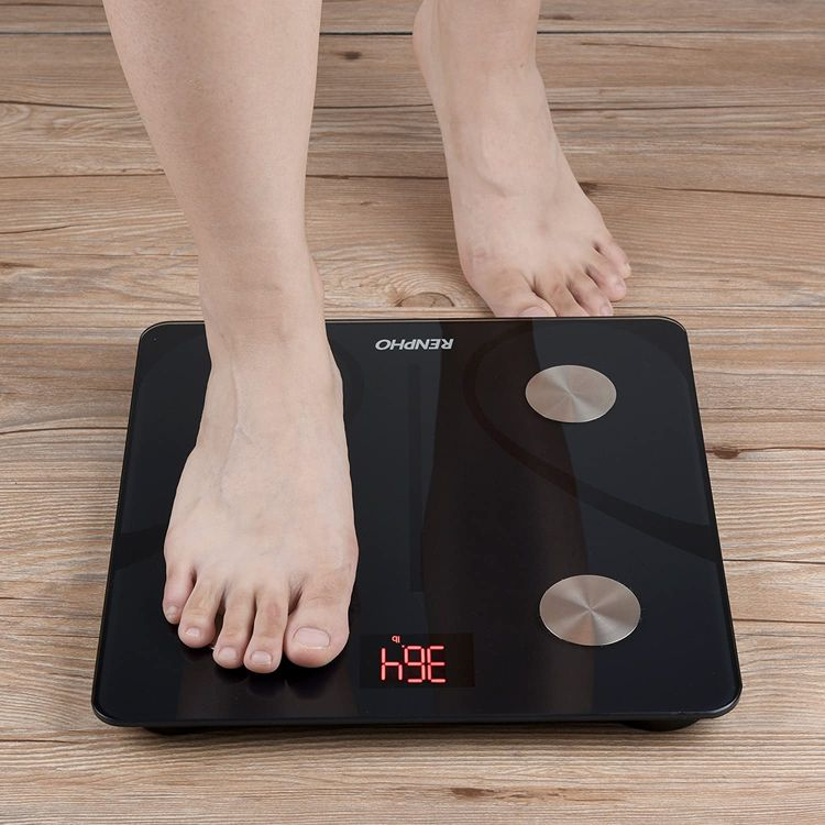 RENPHO Bluetooth Body Fat Scale Smart BMI Scale Digital Bathroom Wireless Weight Scale, Body Composition Monitors Analyzer with Smartphone App 396 lbs digital weight scale - Black