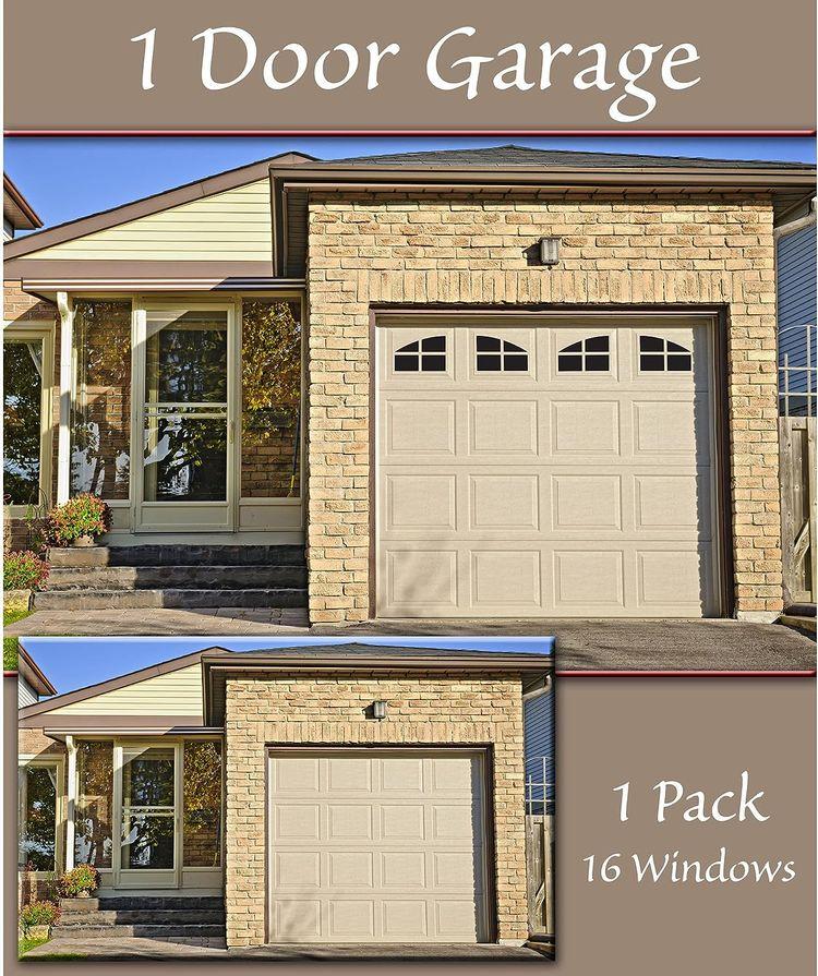 Household Essentials 216 Magnetic Faux Garage Door Windows | 16 Pieces for Single Car Steel Garage Door| Black