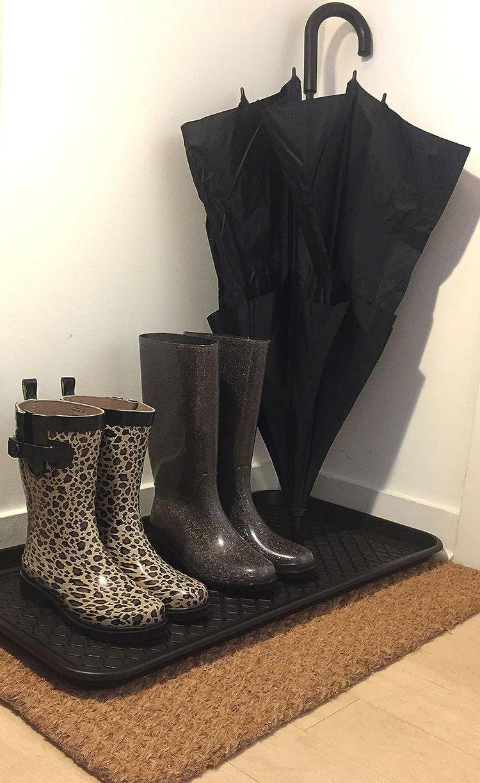 "Ottomanson TRY400-30X15 Multi-Purpose Indoor & Outdoor Waterproof Tray, 15"" x 30"", Black"