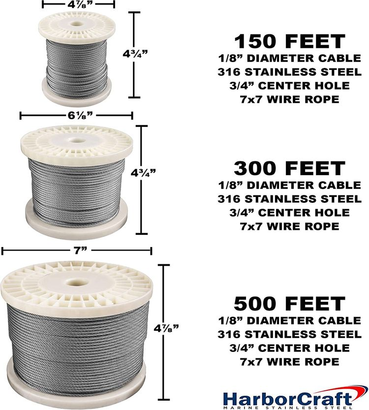 """HarborCraft 300 Feet 1/8"""" 316 Stainless Steel Wire Rope Aircraft Cable for Deck Cable Railing Kits DIY Balustrades 7x7"""