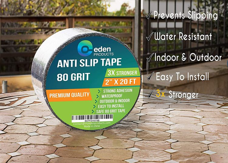 EdenProducts Industrial 2 Inch x 20 Foot Grip Tape Strips, Anti Slip Traction Grit Non Slip, Outdoor Best Non Skid Stair Treads, High Traction Friction Abrasive Adhesive for Stairs Step – Black