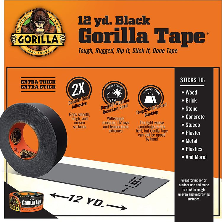 "Gorilla Tape, Black Duct Tape, 1.88"" x 12 yd, Black, (Pack of 1)"