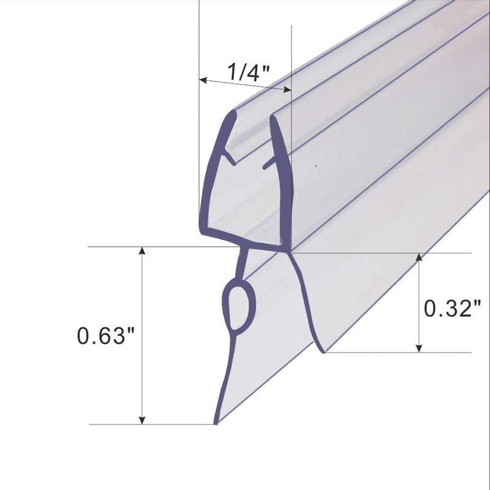 "Frameless Shower Door Sweep Shower Door Bottom Seal for 1/4"" Glass,36"" Long, Glass Shower Door Seal Strip,Clear Vinyl"
