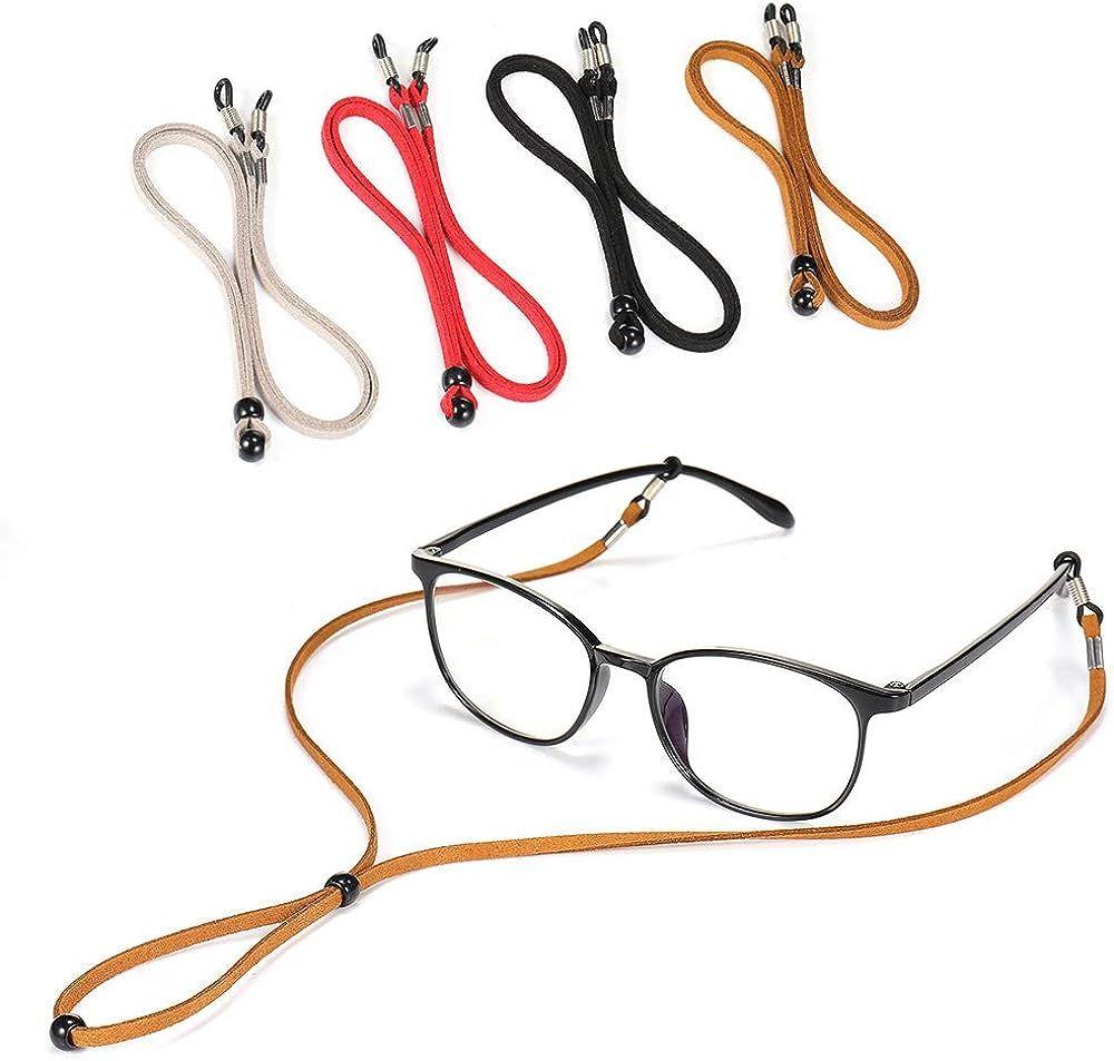 4PCS Premium Leather Eyeglass Straps, SCWJTF Adjustable Eyewear Retainers, Non-slip Eyeglass Chains Lanyard, Sport Sunglass Retainer Holder Strap, Free Gift Glasses Cloth and Screwdriver