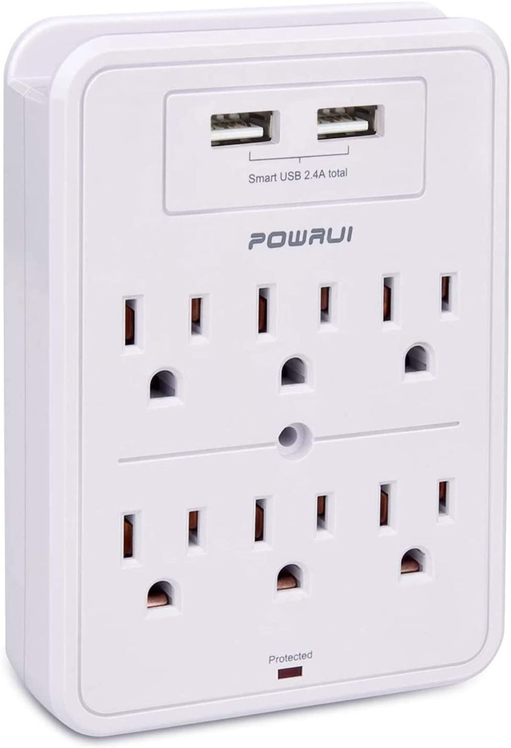 POWRUI Surge Protector, USB Wall Charger with 2 USB Charging Ports(Smart 2.4A Total), 6-Outlet Extender and Top Phone Holder for Your Cell Phone, White, ETL Listed