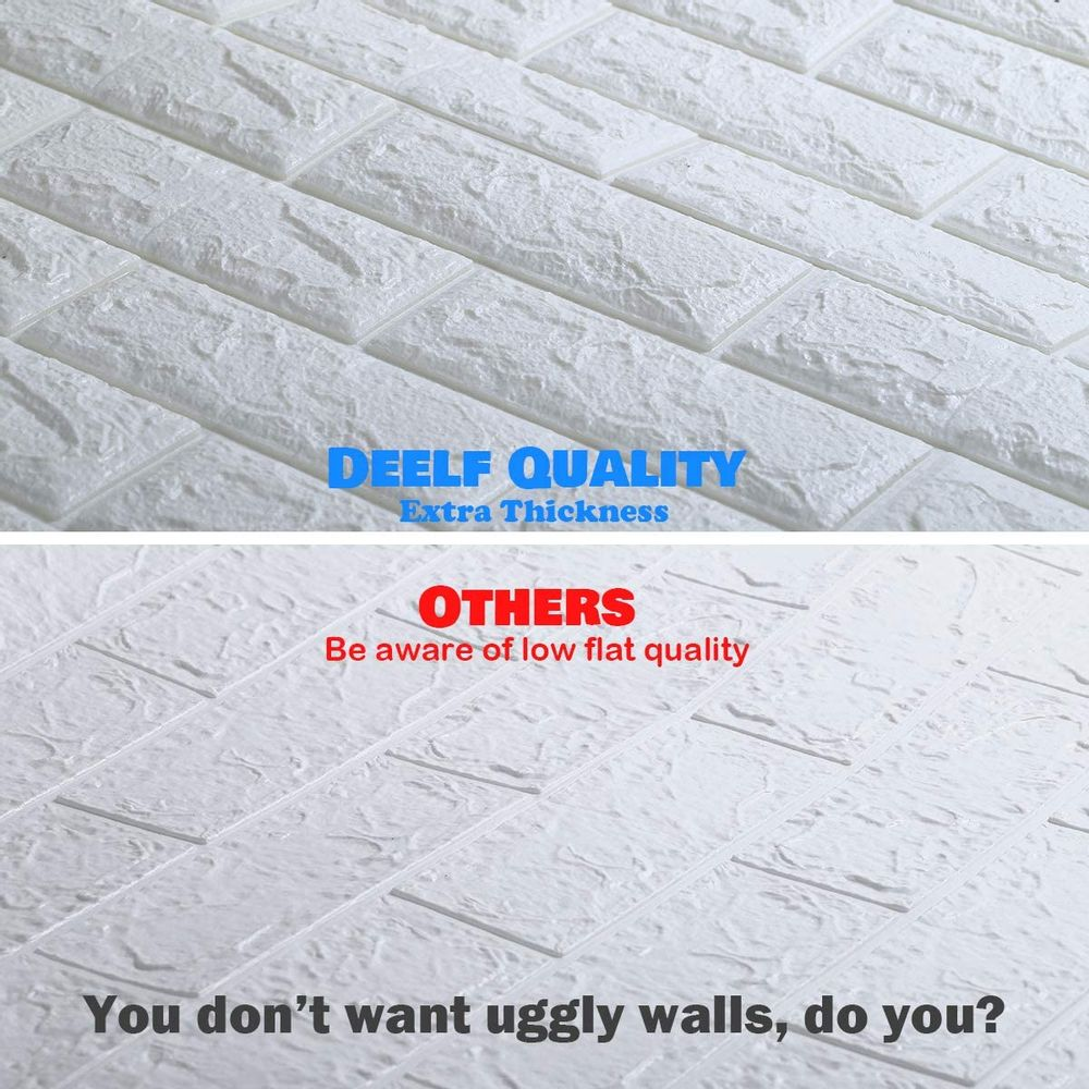 DeELF 20 PCS 3D Brick Wallpaper Peel and Stick Panels, White Brick Textured Effect Wall Décor Adhesive Wall Paper for Bathroom, Kitchen, Living Room Home Decoration 90 Square Feet Coverage