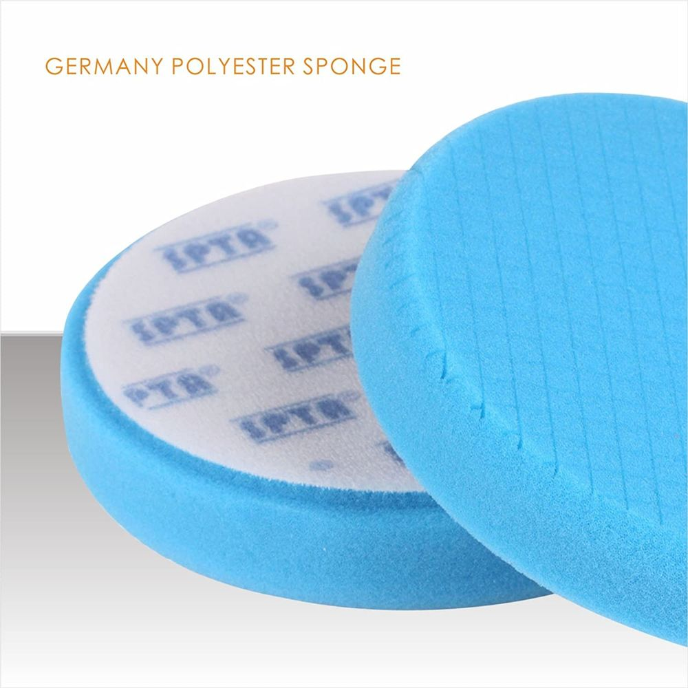 SPTA Buffing Polishing Pads, 5Pc 7 Inch Face for 6.7 Inch Backing Plate, Compound Buffing Sponge Pads Cutting Polishing Pad Kit for Car Buffer Polisher Compounding, Polishing and Waxing -SPTA0010SET