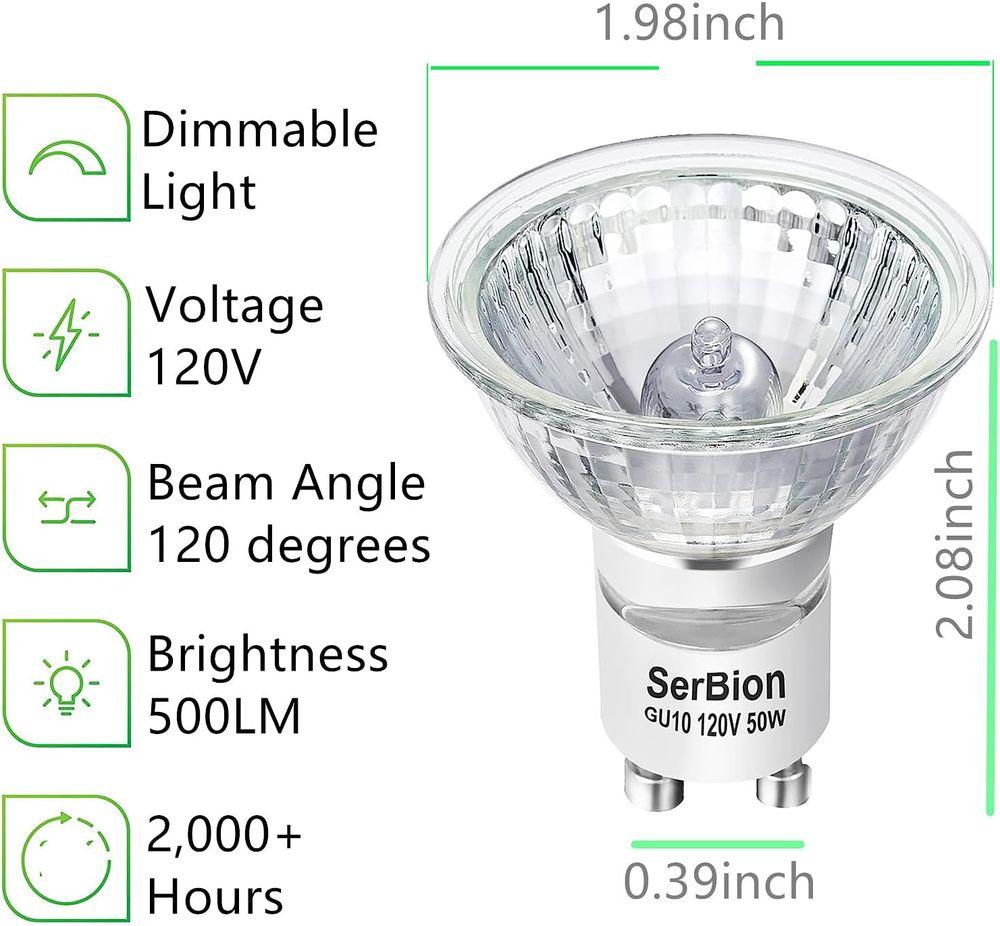 GU10 Halogen Light Bulb, MR16 Light Bulbs 120V/50W, Glass Cover & Dimmable, 500 Lumens Warm White, High Efficiency Halogen Flood Light Bulbs for Indoor (6 Pack)