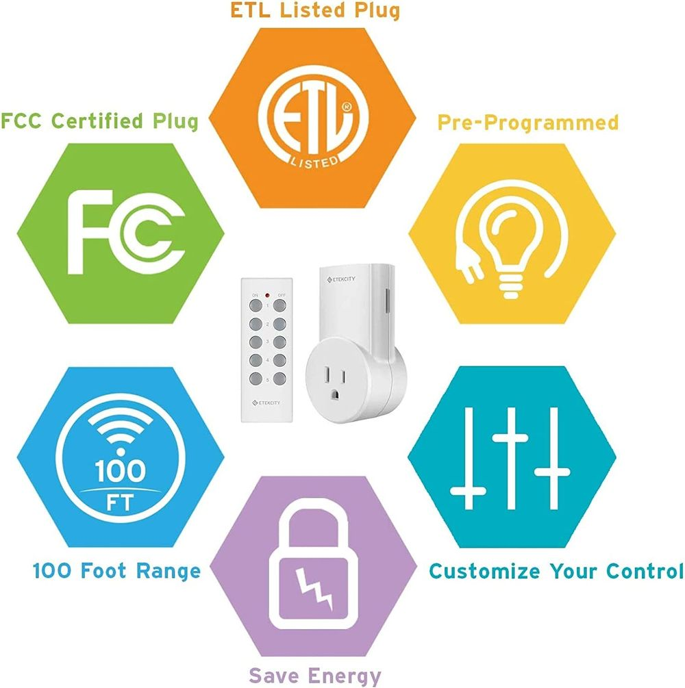 Etekcity Wireless Remote Control Outlet Light Switch for Lights, Lamps, Christmas Decorations, Plug and Go, Up to 100 ft. Range, FCC, ETL Listed, White (Learning Code, 5Rx-2Tx)