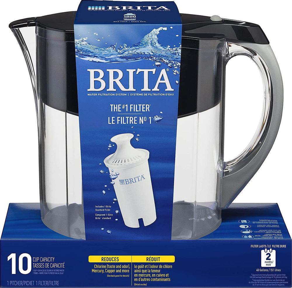 Brita Grand Pitcher with 1 Filter, Large 10 Cup, Black