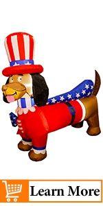 Patriotic Inflatable Lighted Wiener Dog