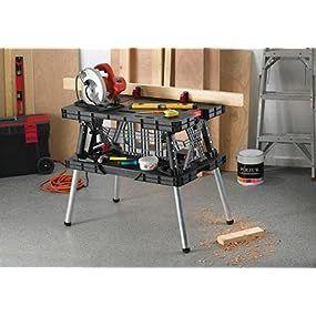 Keter adjustable folding work table workbench tool table sawhorse