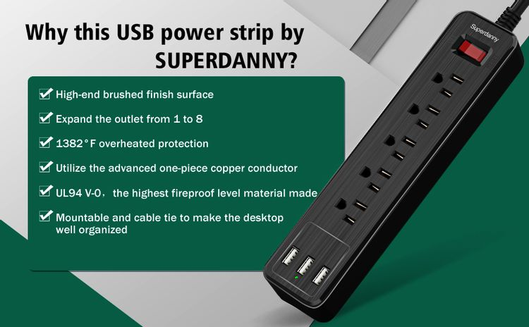 Fast charging high speed USB power outlet power board