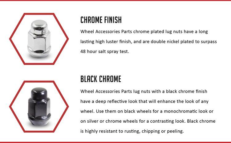 Bulge Acorn Lug Nut Finish Chrome, Black Chrome. High Luster, Rust Resistant, 48hr Salt Spray