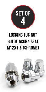 Set of Locking Lug Nut 12x1.5 Thread