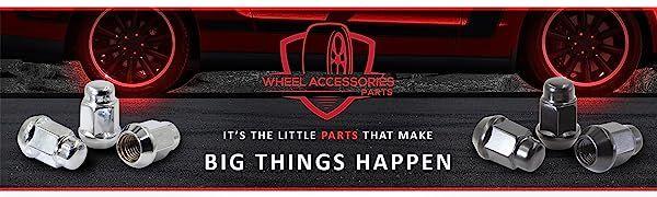 Wheel Accessories, Wheel Parts, Lugs, Chrome Lug Nut, Black Lug Nut, Black Chrome, Bulge Acorn Lug