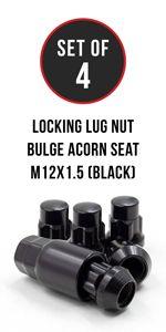 Set of 4 Black Locking Lug Nut 12x1.5 Thread