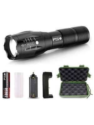 rechargeable led tactical flashlight handheld bright 1000 2000 lumen battery charger high power