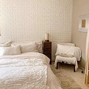 3D Brick Wallpaper Peel and Stick Panels, White Brick Textured Effect Wall Décor Adhensive Wall