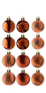 36-Piece Copper Orange Ball Ornaments Set