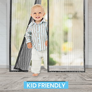 magnetic screen door, child friendly, fly screen,