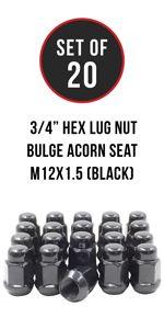 Set of 20 Black 12x1.5 Hex Bulge Acorn Lug Nut