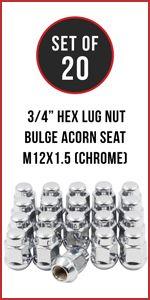Set of 20 Chrome 12x1.5 Hex Bulge Acorn Lug Nut