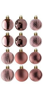 36-Piece Rose Gold Ball Ornaments Set