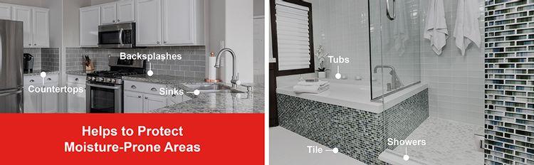 Backsplash Countertop Sink Tub Tile Shower Kitchen Bathroom Bath  Moisture Humidity Caulk
