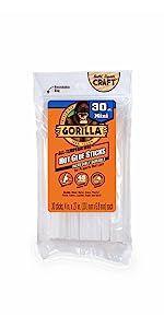 gorilla hot melt glue gun sticks mini size 4 inch