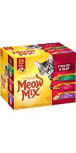 meow mix cat food wet variety pack with chicken beef