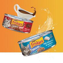 Friskies wet cat food cans with gravy